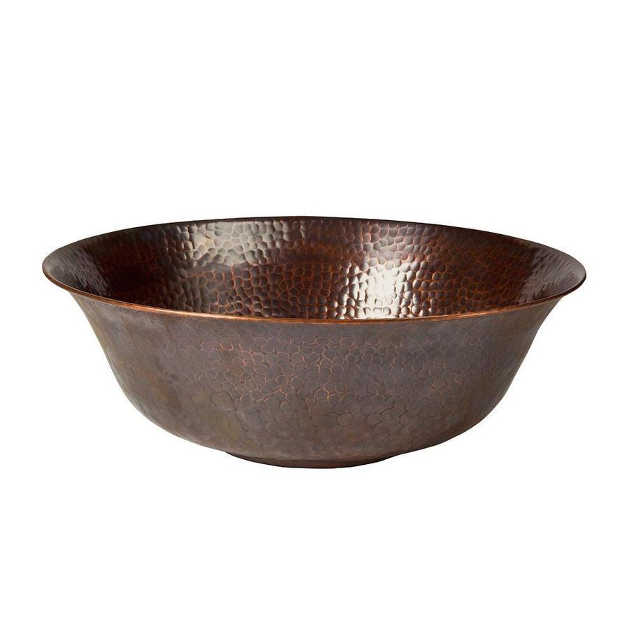 The Copper Factory Artisan Antique Copper Vessel Round Bathroom Sink ...