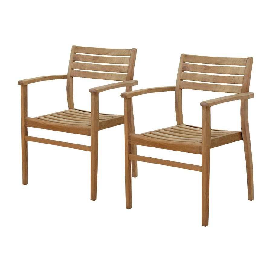Shop international home amazonia 2 count teak stackable for Stackable outdoor dining chairs
