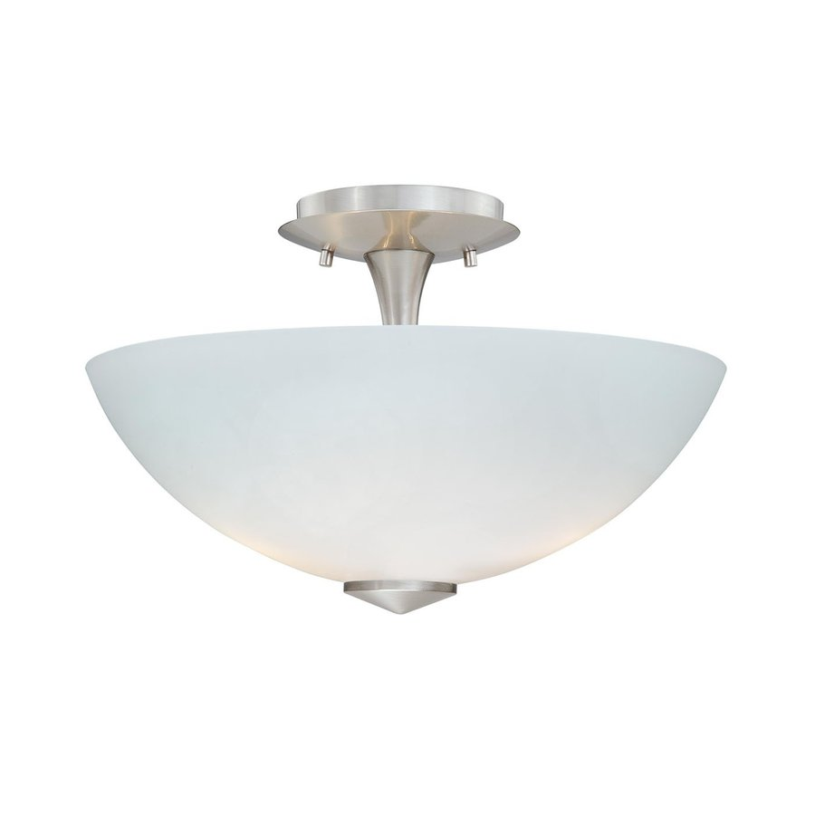 Cascadia Lighting Milano 13.125-in W Satin Nickel Frosted Glass Semi-Flush Mount Light