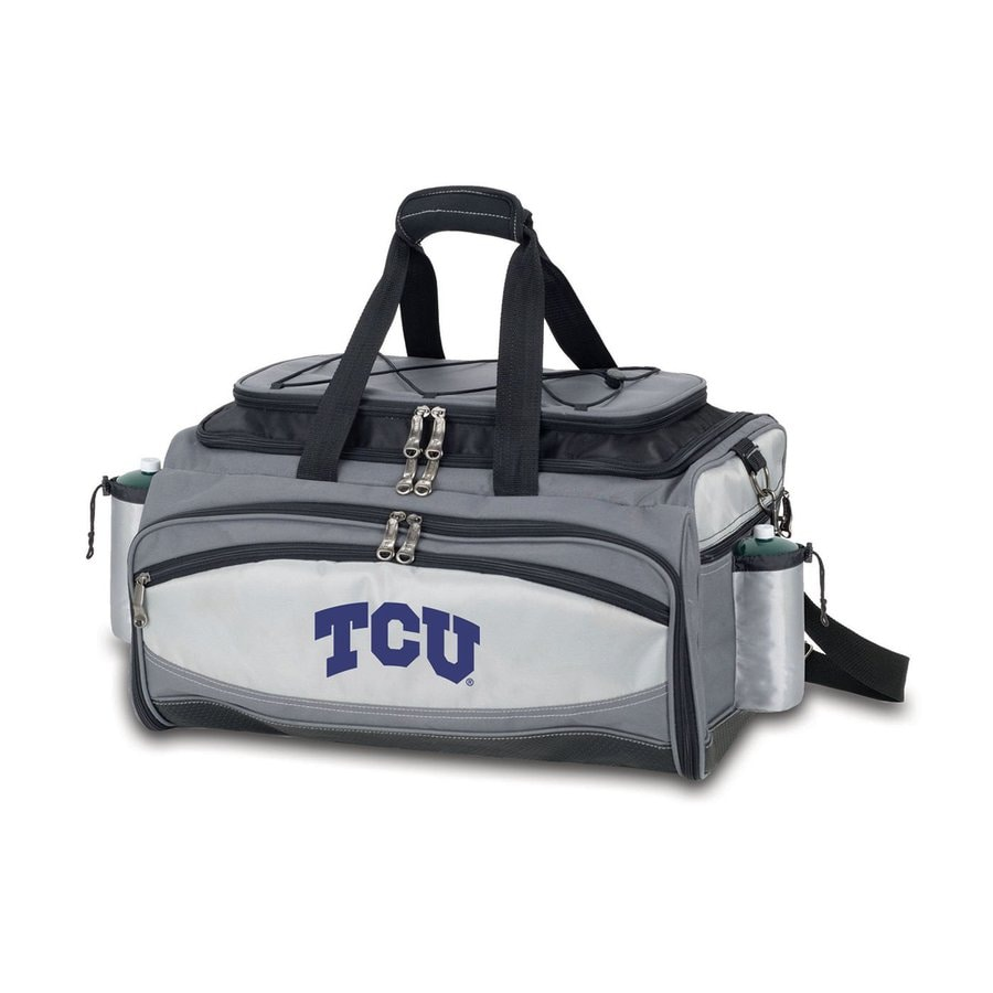 Picnic Time Vulcan Texas Christian University Horned Frogs 164 Sq.-in Portable Gas Grill and Cooler with Embroidered Case