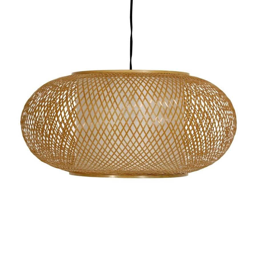 Oriental Furniture Kata 18-in Honey Plug-in Single Cage Pendant