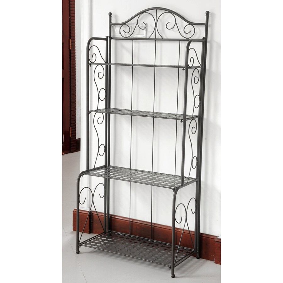 Shop International Caravan Mandalay Antique Black Rectangular Bakers Rack At Lowes.com