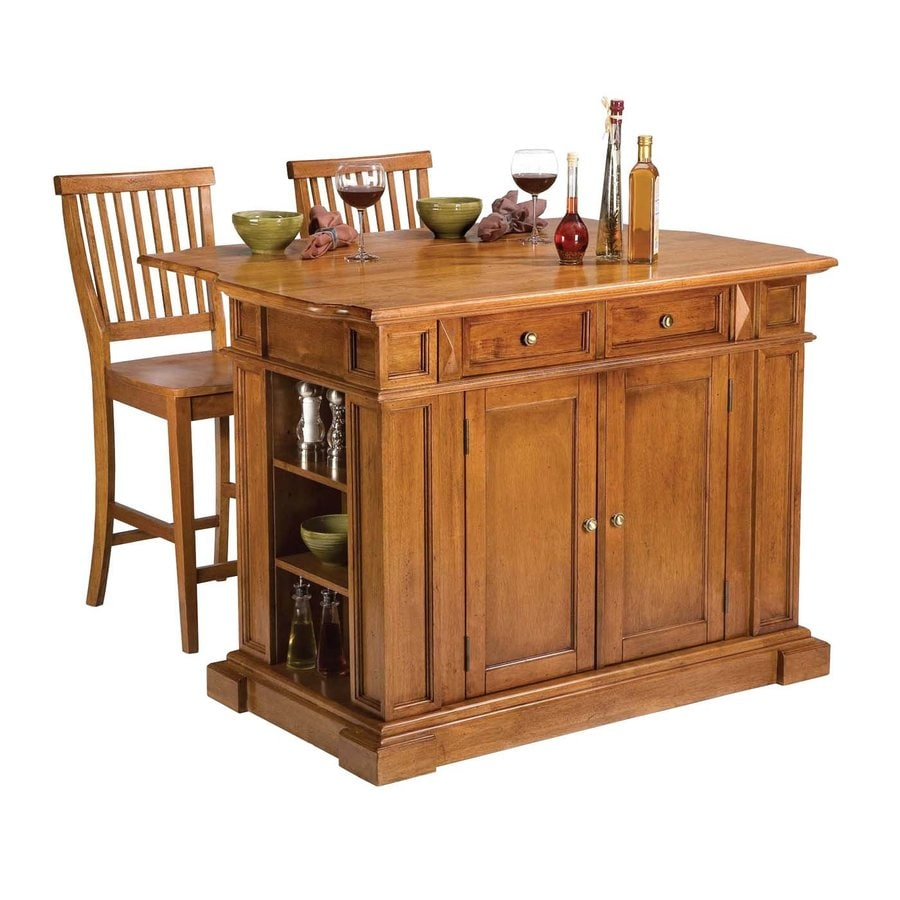 Home Styles 49.75-in L x 26.5-in W x 36.5-in H Cottage Oak Kitchen Island with 2 Stools