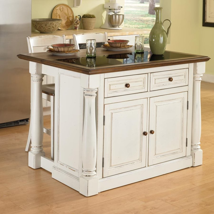 Home Styles 48-in L x 40.5-in W x 36-in H Distressed Antique White Kitchen Island with 2 Stools