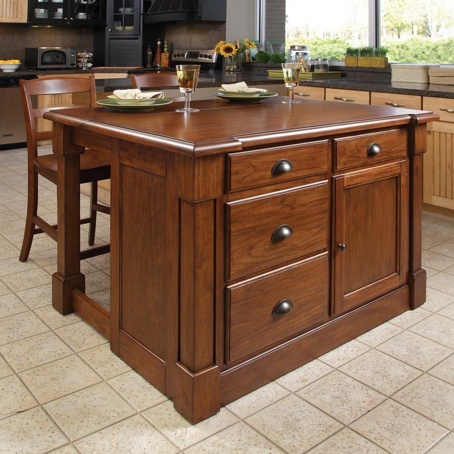 Shop Home Styles 48 In L X 39 In W X 36 In H Rustic Cherry Kitchen Island With 2 Stools At Lowes Com