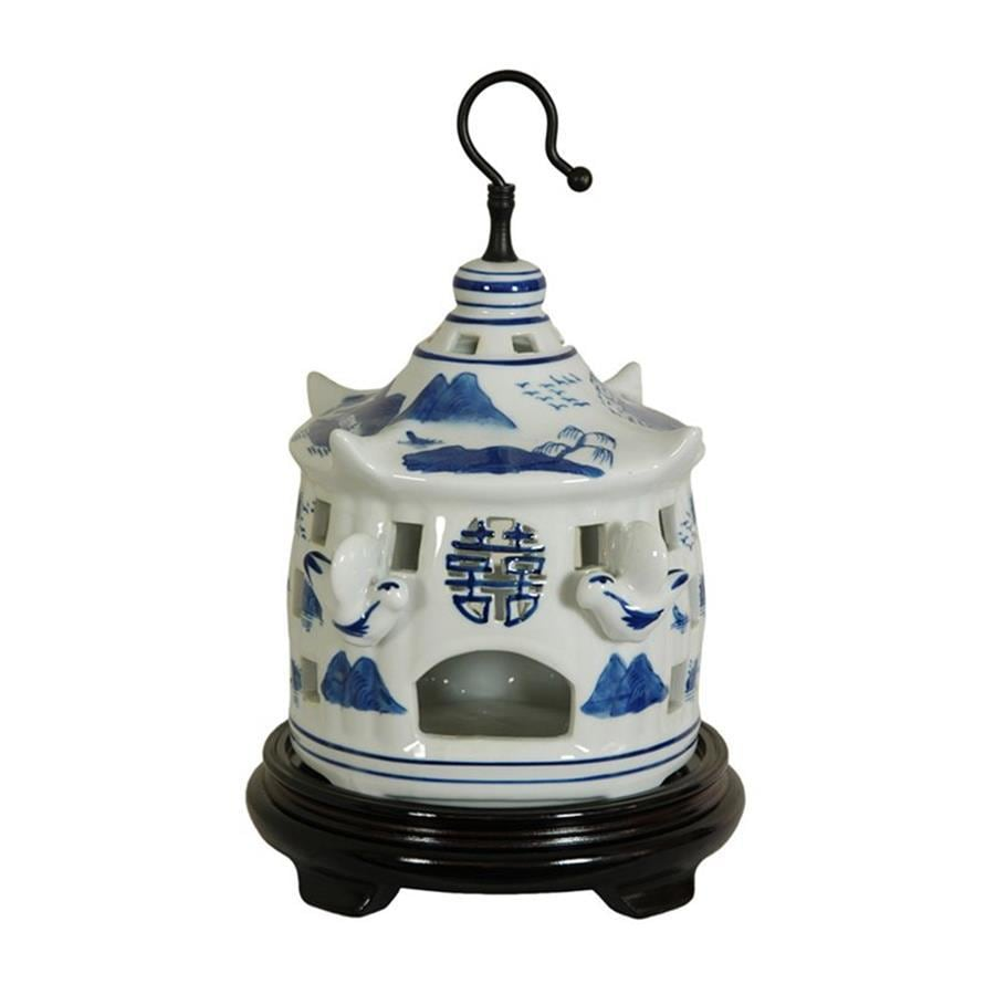 Oriental Furniture Landscape Blue and White 11inch Chinese Porcelain Bird Cage Tabletop Statue