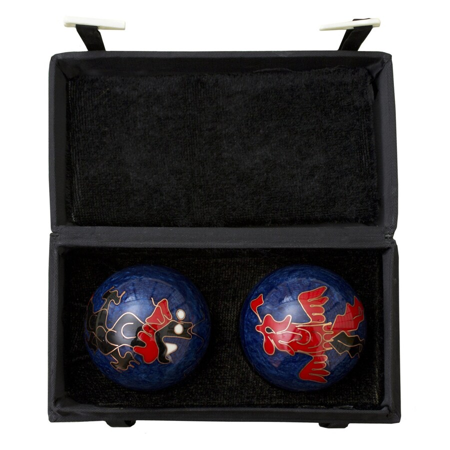 Oriental Furniture Set of 2 Metal Dragon and Phoenix Health Balls