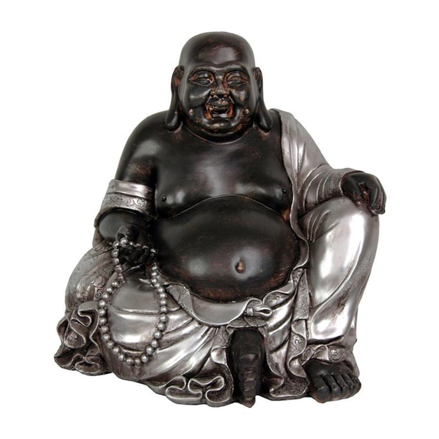 Oriental Furniture Silver Patina Sitting Happy Buddha Tabletop Statue