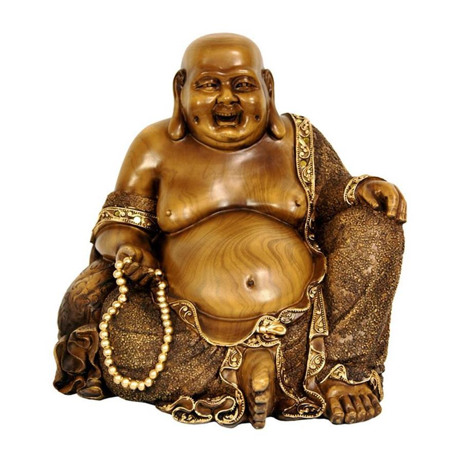 Oriental Furniture Faux Bronze 10inch Sitting Hotei Happy Buddha Tabletop Statue