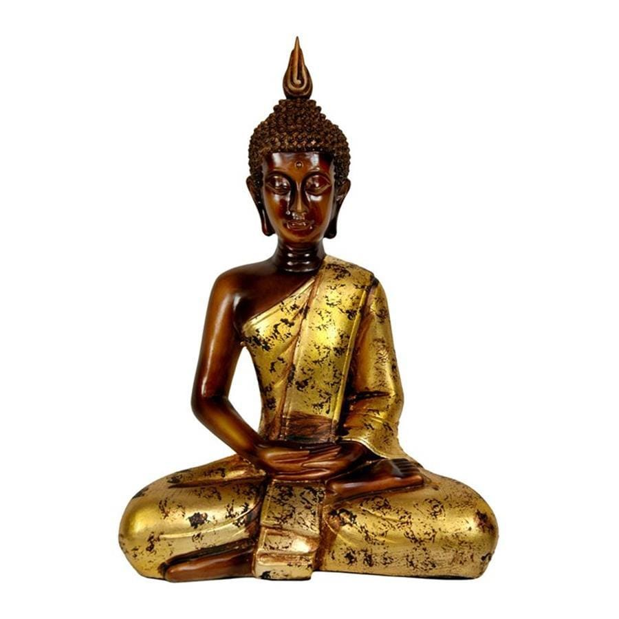 Oriental Furniture Copper Skin/Antiqued Gold Patina 16.5inch Thai Sitting Buddha Tabletop Statue