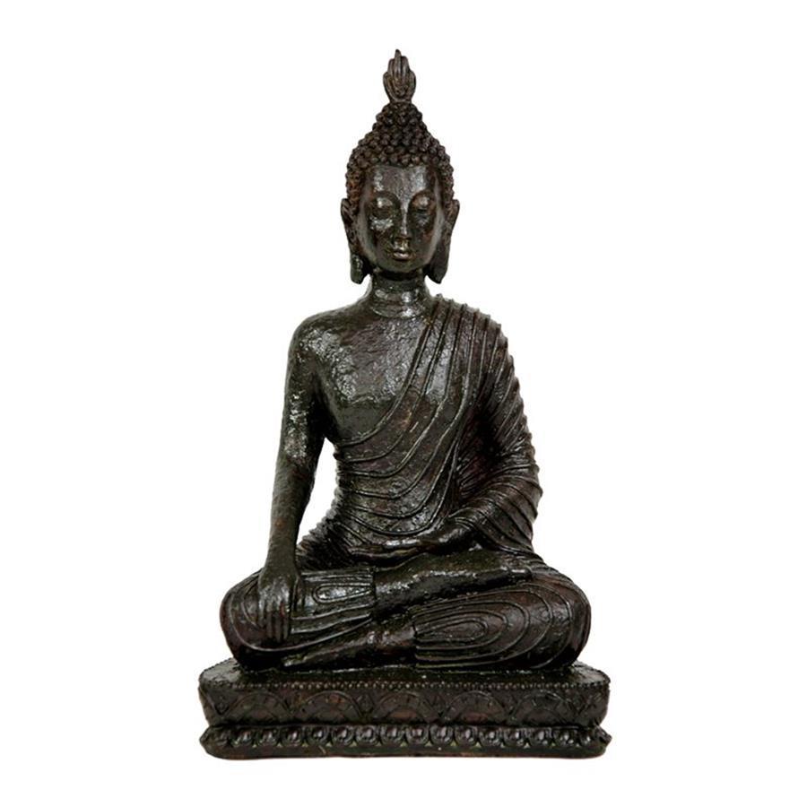 Oriental Furniture Antiqued Patina 10inch Laotian Sitting Buddha Tabletop Statue
