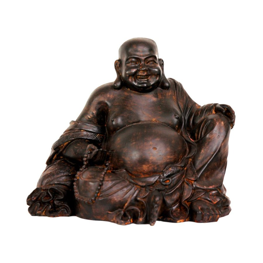 Oriental Furniture Oxidized Bronze/Antiqued Patina 8inch Sitting Laughing Buddha Tabletop Statue