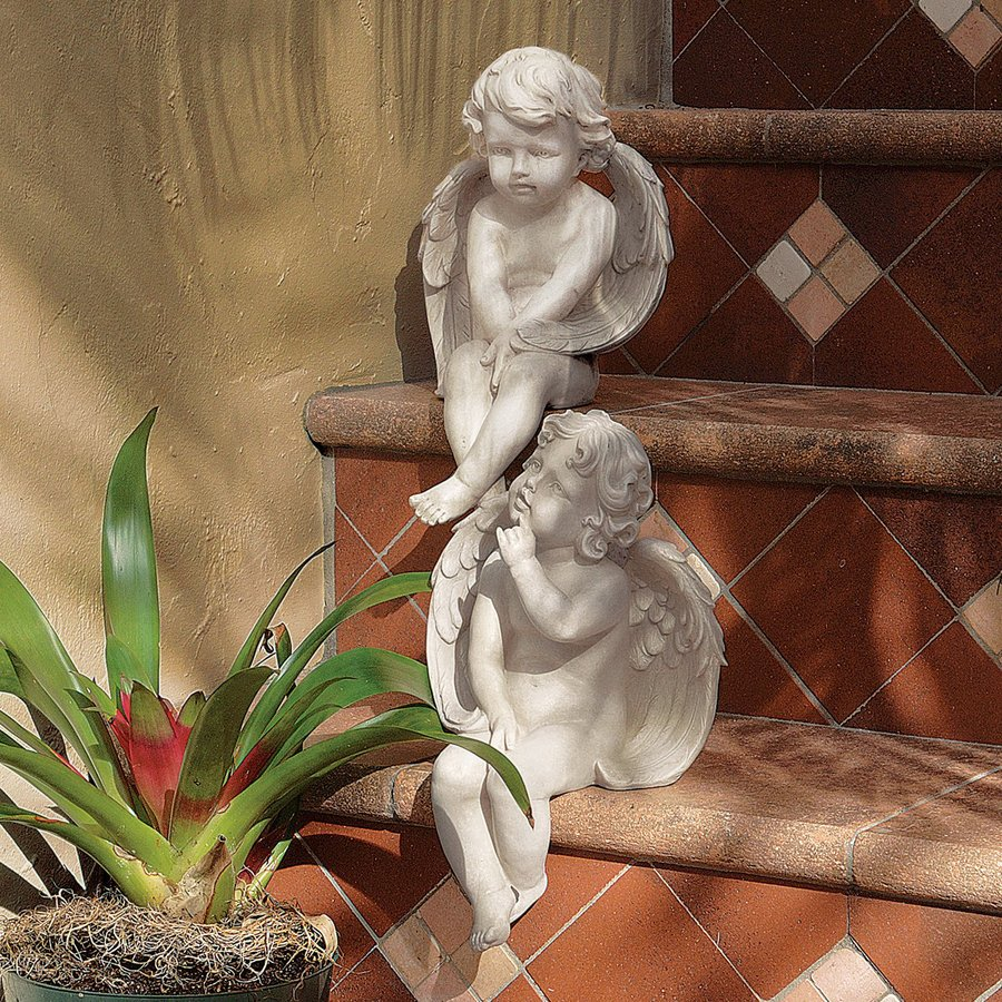 Shop design toscano angels of meditation and contemplation angels and cherubs garden statue at - Angel statue for garden ...
