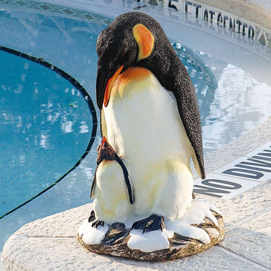 Design Toscano Positively Penguins 19.5-in Animal Garden Statue