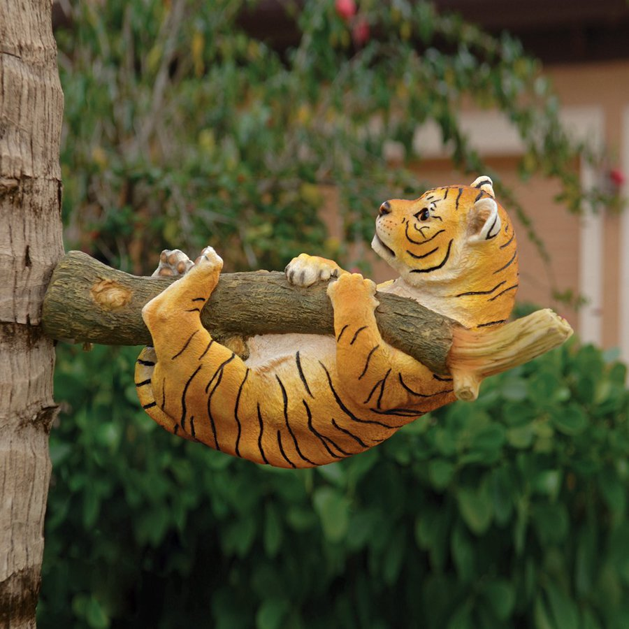 Design Toscano Up A Tree Hanging Tiger Cub 13-in Animal Garden Statue