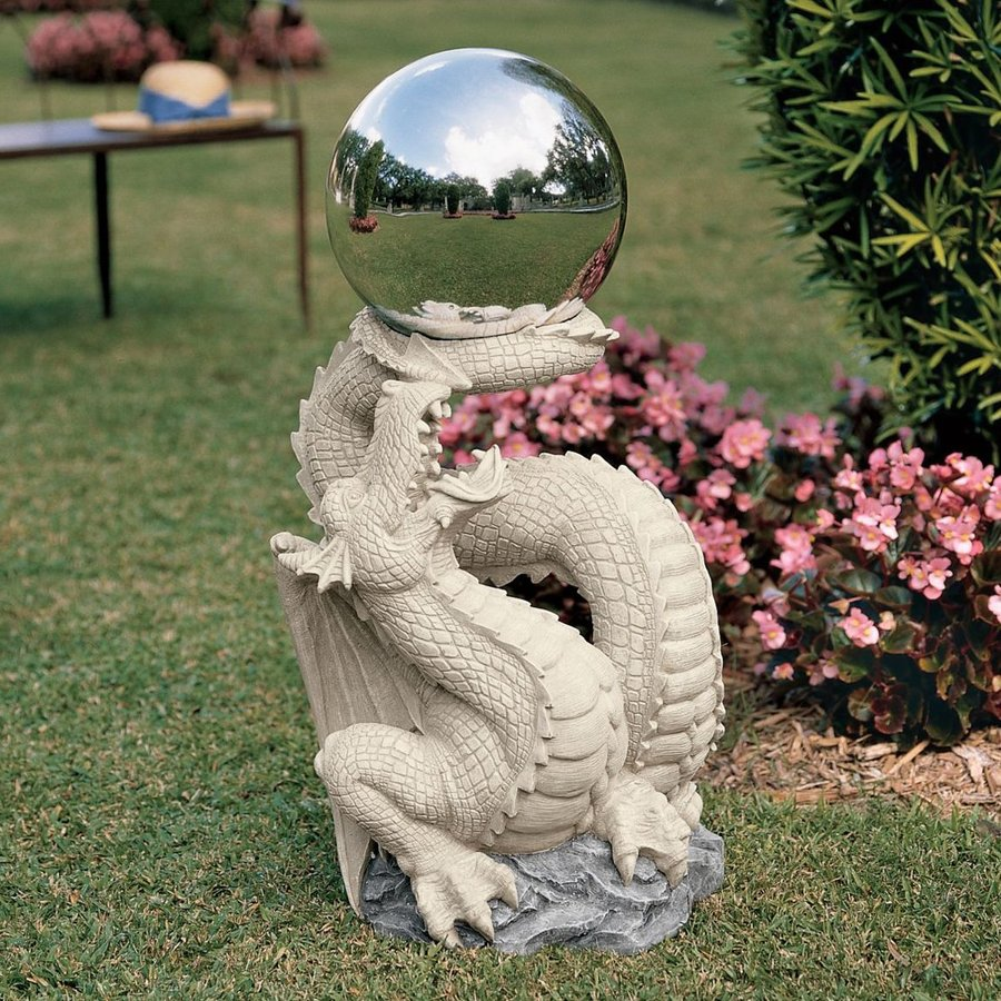 Design Toscano Sir Sagremor's Dragon with Gazing Orb 30-in Dragon Garden Statue