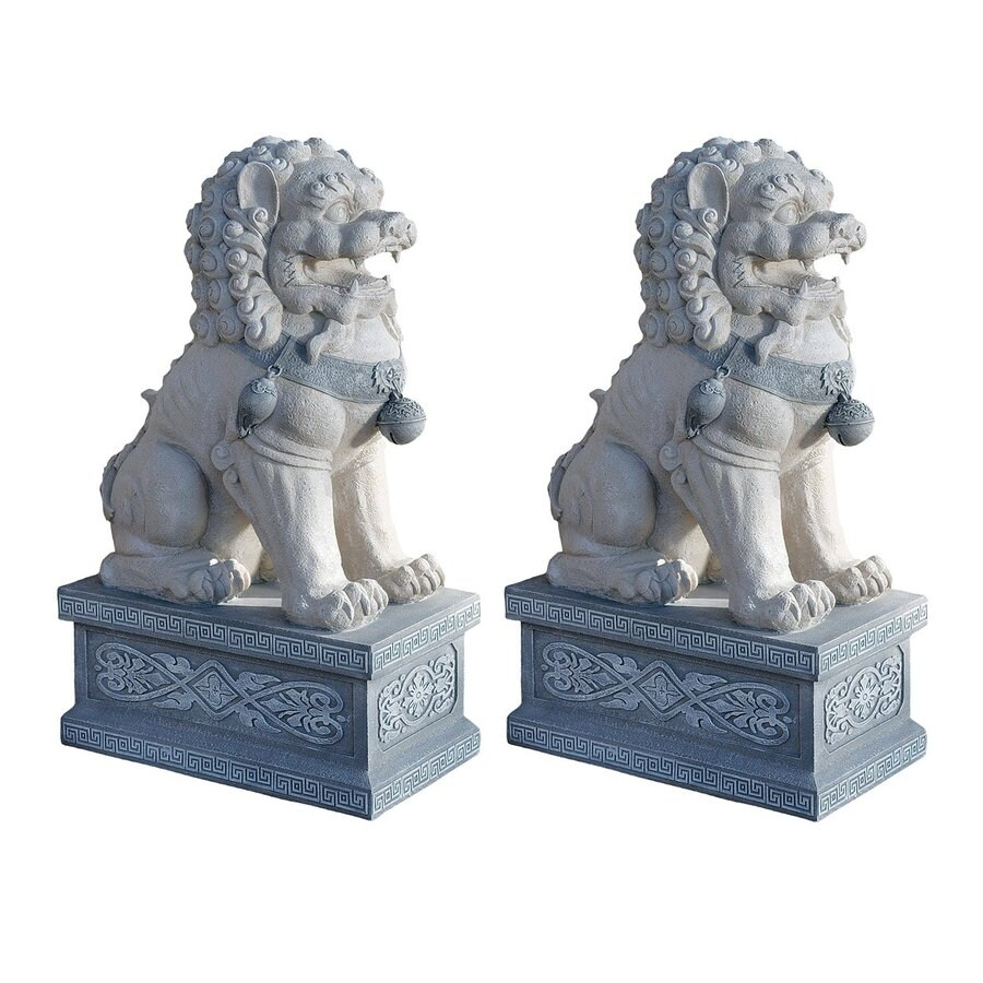Design Toscano Giant Foo Dogs Of The Forbidden City 30-in Animal Garden Statue