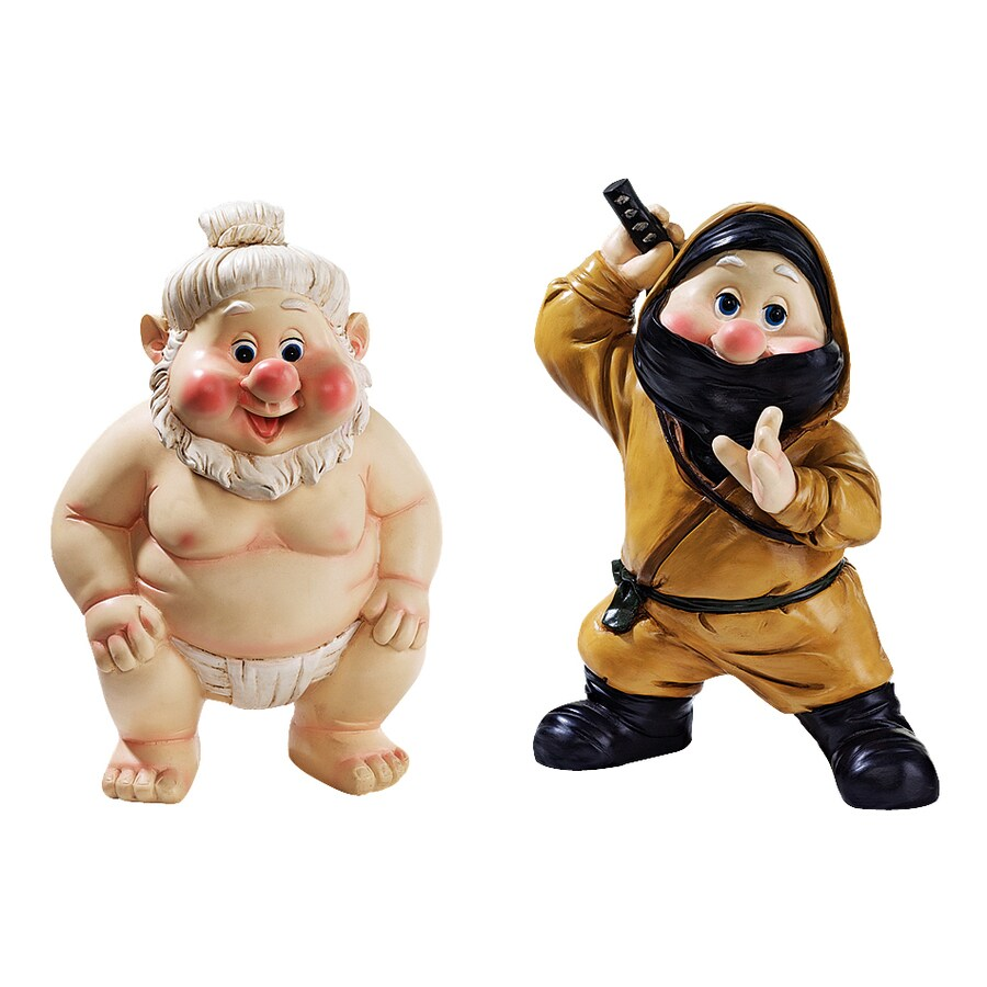 Design Toscano Set of 2 Far East Garden Fighters 10-in Gnome Garden Statues