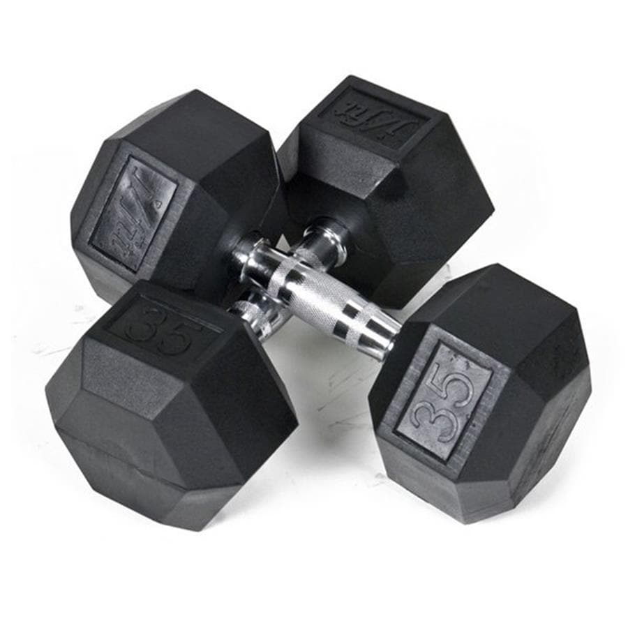 J FIT Set of Two 75-lb Black Fixed-Weight Dumbbells