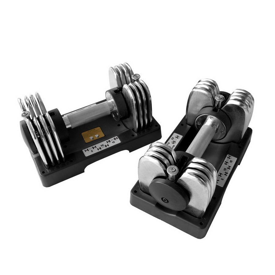 Bayou Fitness Pair of 25-lb Chrome Adjustable Dumbbells