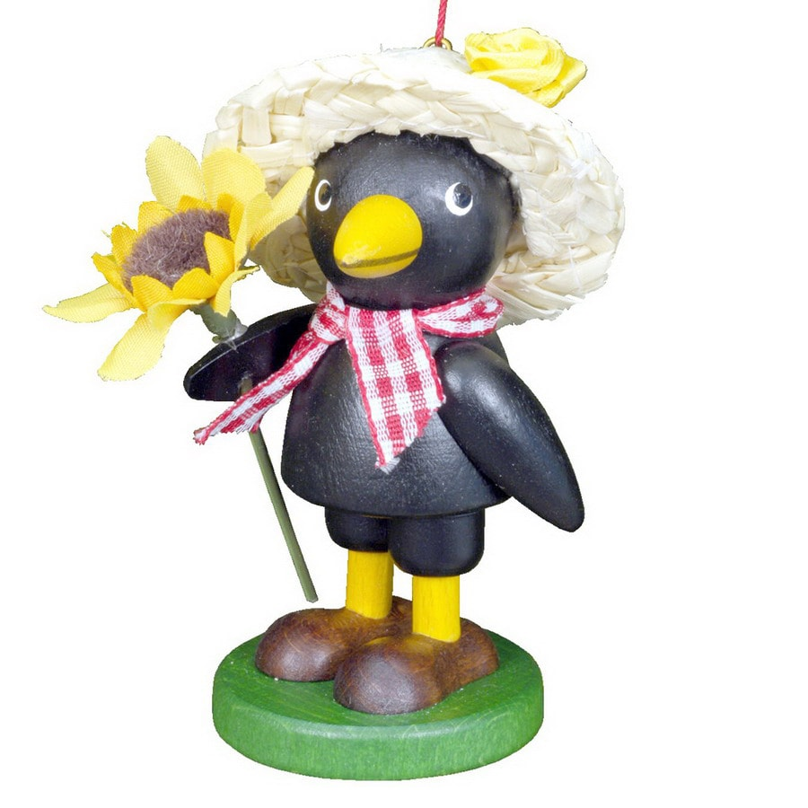 Alexander Taron Multicolor Wood Farmer Crow Ornament