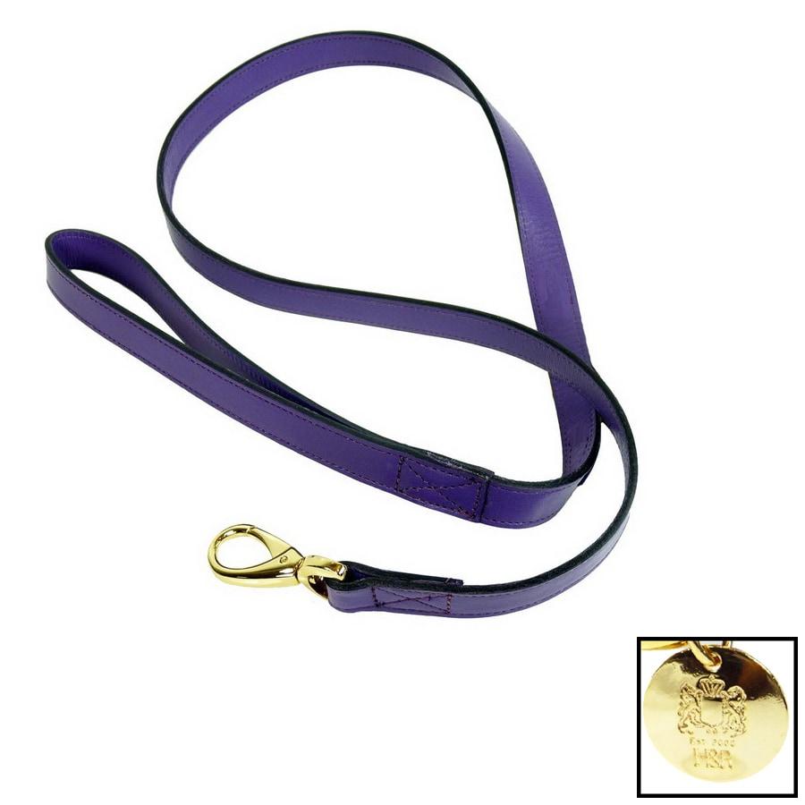 Hartman & Rose Lavender Purple Leather Dog Leash