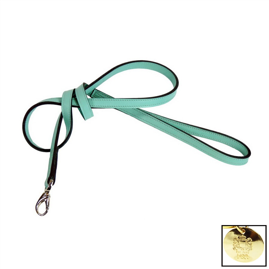 Hartman & Rose Turquoise Leather Dog Leash