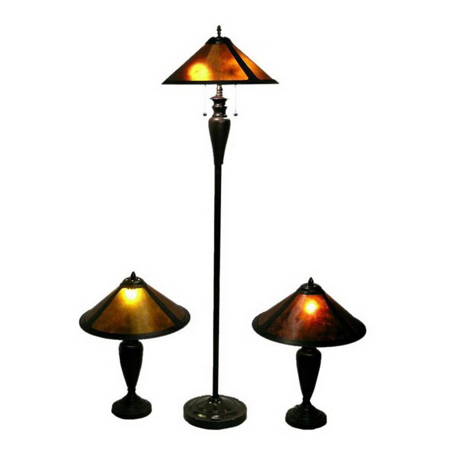 Warehouse of Tiffany 3-Piece Antique Bronze Mica Shade Lighting Lamp Set