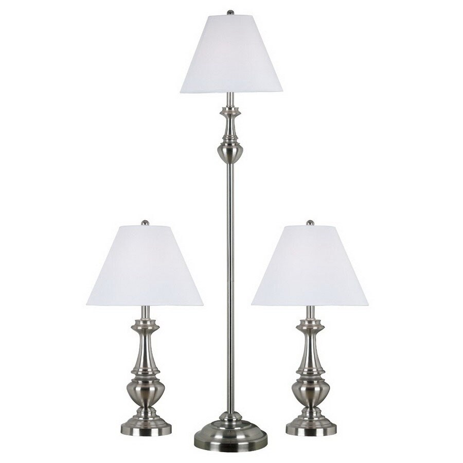 Kenroy Home 3-Piece Brushed Steel Lamp Set with Fabric Shades