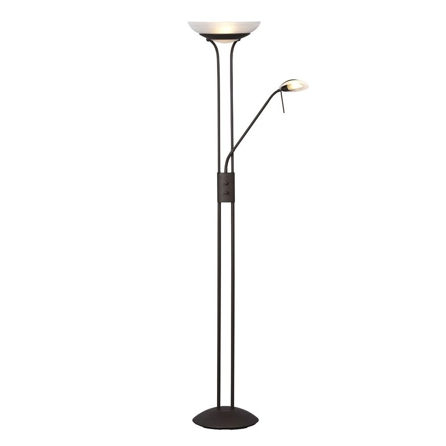 Galaxy 70.875-in Matte Bronze Torchiere with Side-Light with Glass Shade