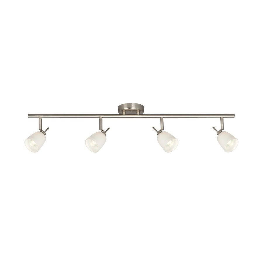 Galaxy Fixed Track 4-Light 35-in Brushed Nickel Glass Pendant Linear Track Lighting Kit