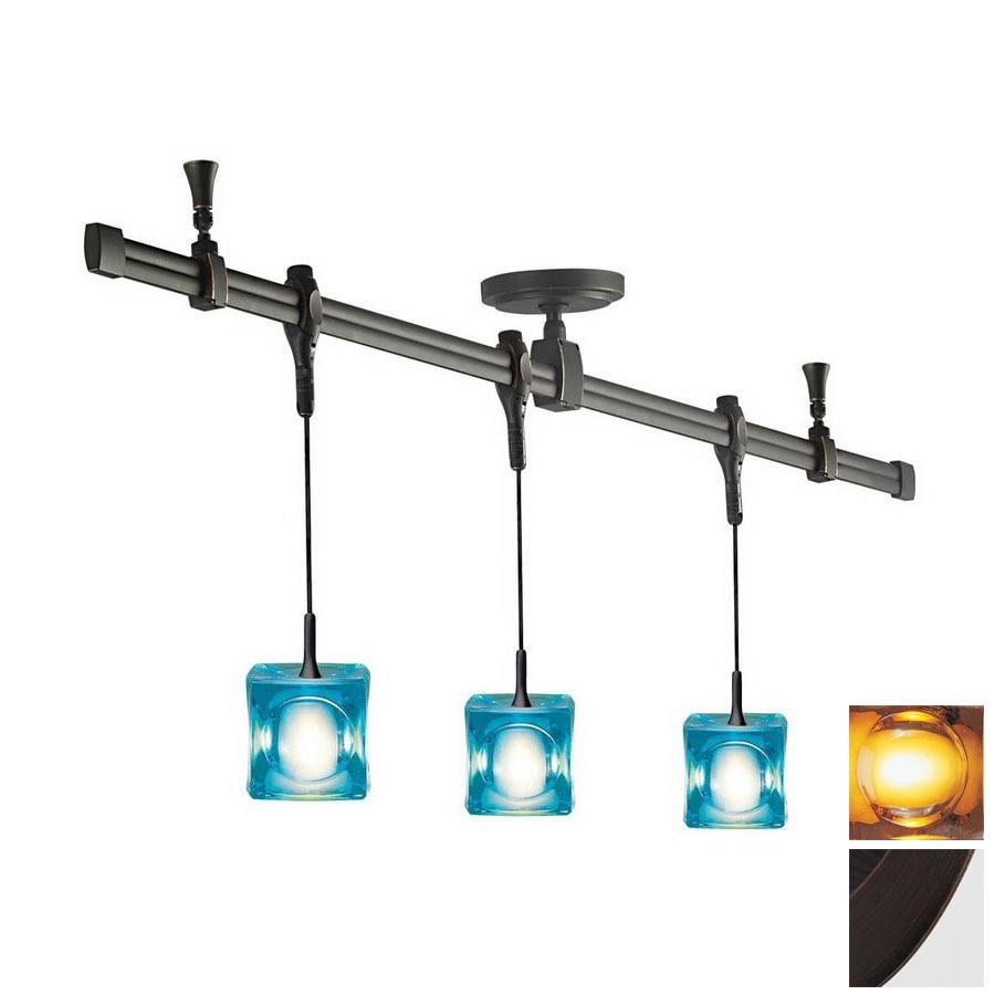 shop nora lighting 3 light standard bronze glass pendant