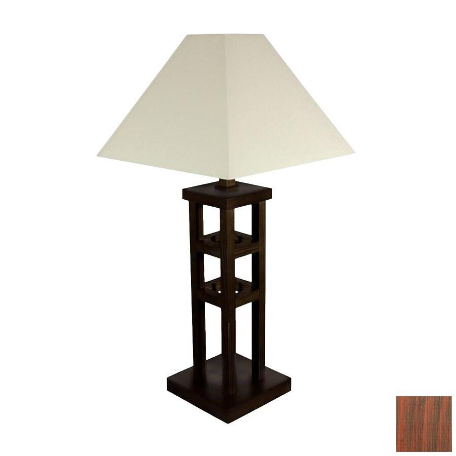 Oriental Furniture 62-in Walnut Shelf Indoor Floor Lamp with Paper Shade