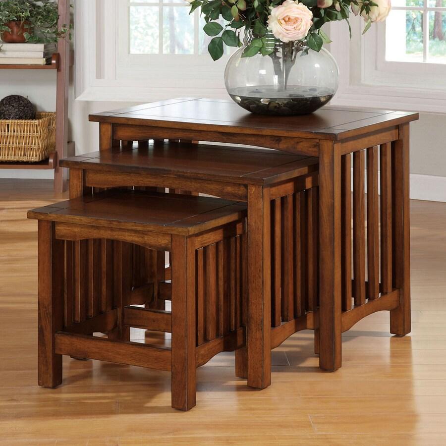Furniture of America Valencia Antique Oak Birch Accent Table Set
