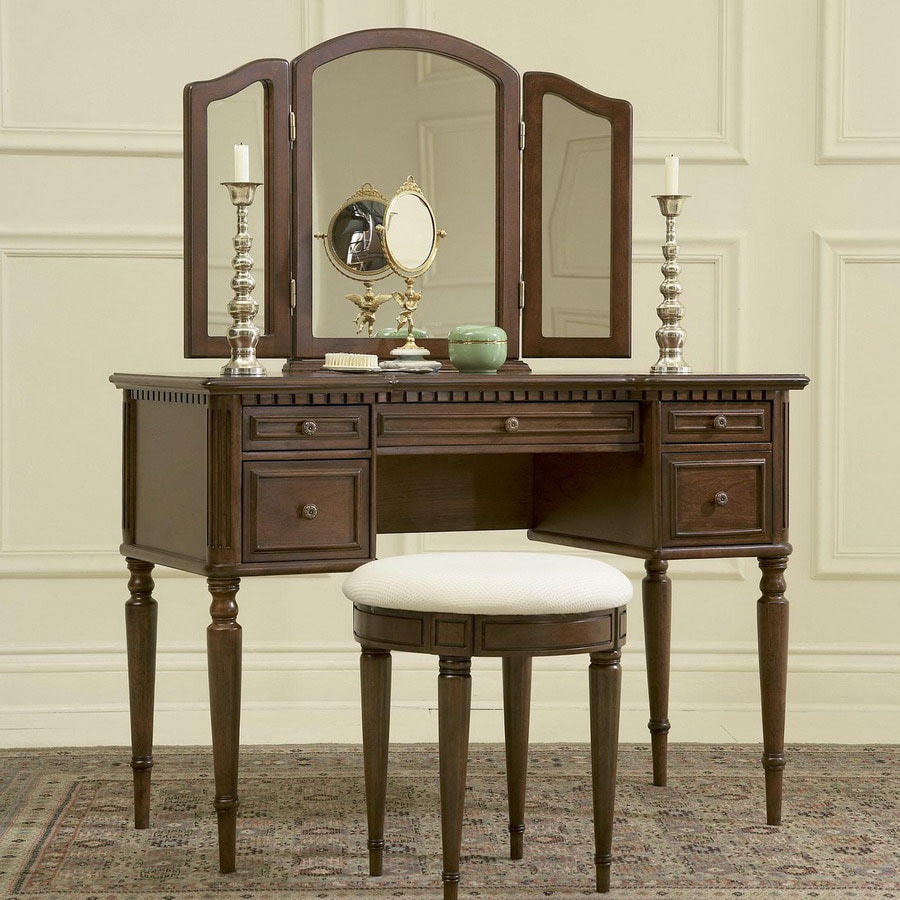 Powell Warm Cherry Makeup Vanity