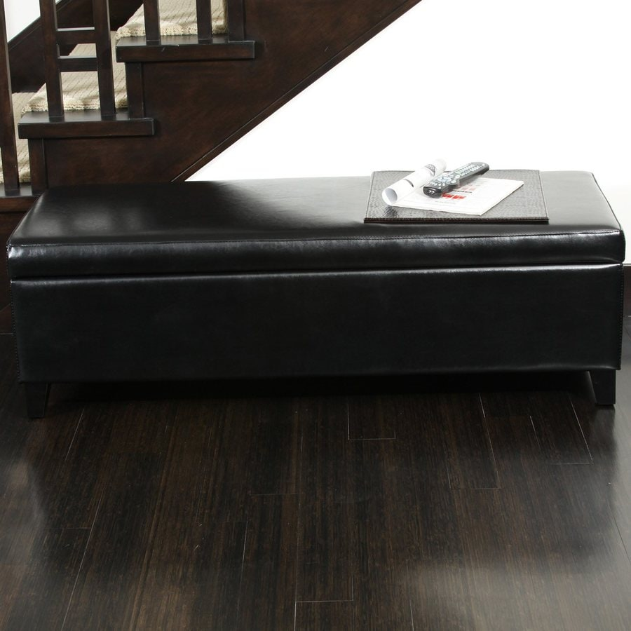 Best Selling Home Decor York Black Rectangle Storage Ottoman