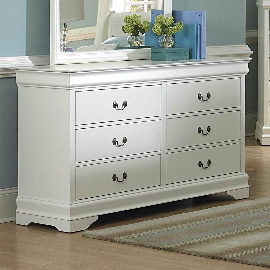 shop homelegance marianne white 6 drawer dresser at. Black Bedroom Furniture Sets. Home Design Ideas