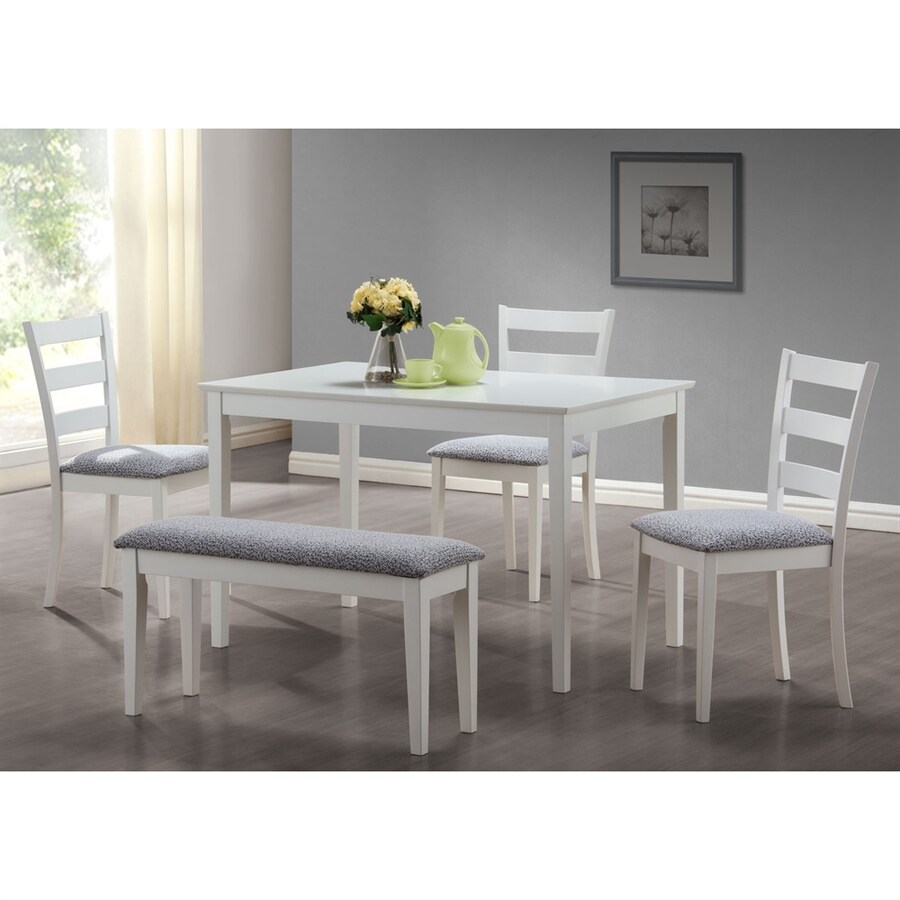 Monarch Specialties White Dining Set Rectangular Table