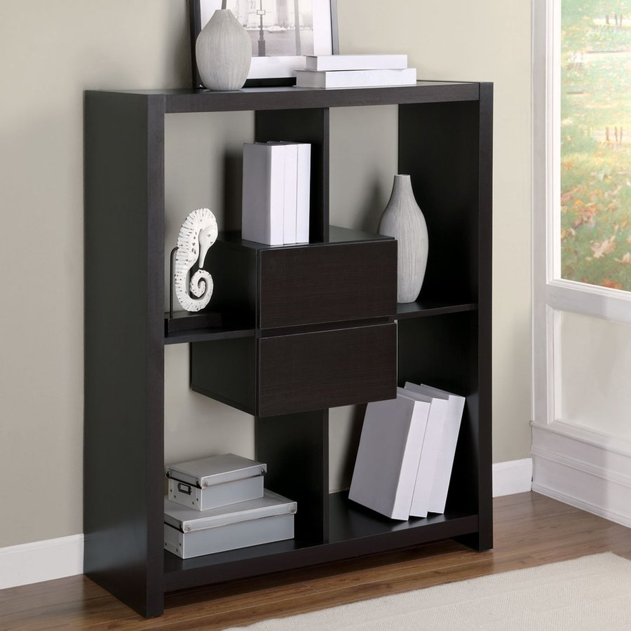 Monarch Specialties Cappuccino 39-in W x 47-in H x 15.5-in D 4-Shelf Bookcase