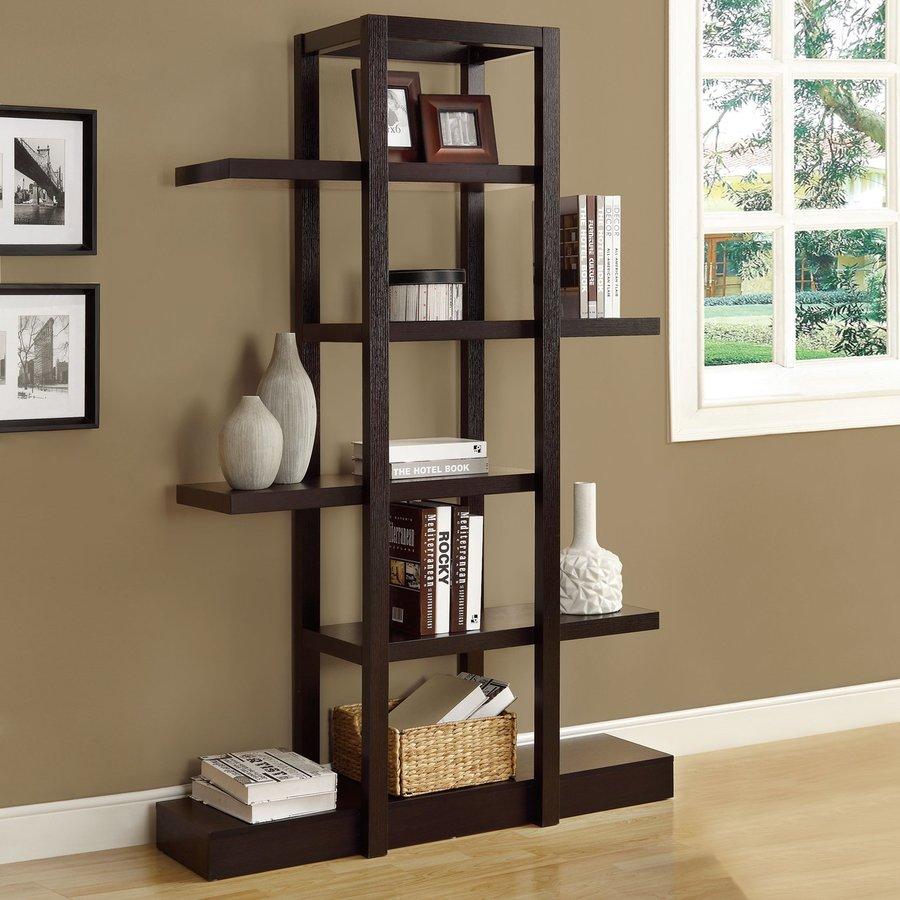 Monarch Specialties Cappuccino 47.25-in W x 71-in H x 14.25-in D 5-Shelf Bookcase