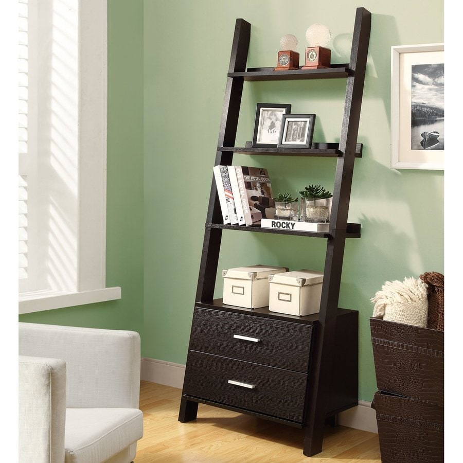 Monarch Specialties Cappuccino 25.75-in W x 69-in H x 16.75-in D 4-Shelf Bookcase