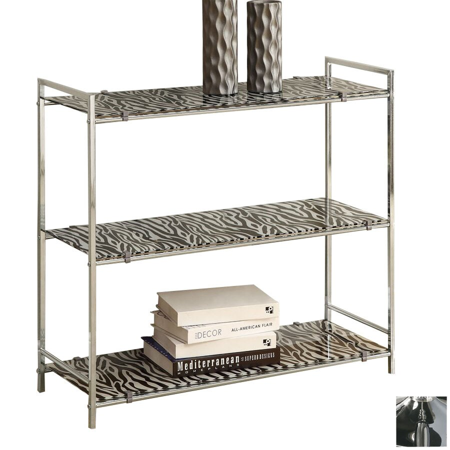 Monarch Specialties Chrome 30-in 3-Shelf Bookcase