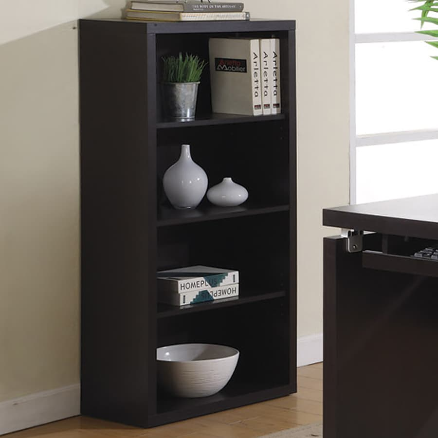 Monarch Specialties Cappuccino 24-in W x 48-in H x 12-in D 4-Shelf Bookcase
