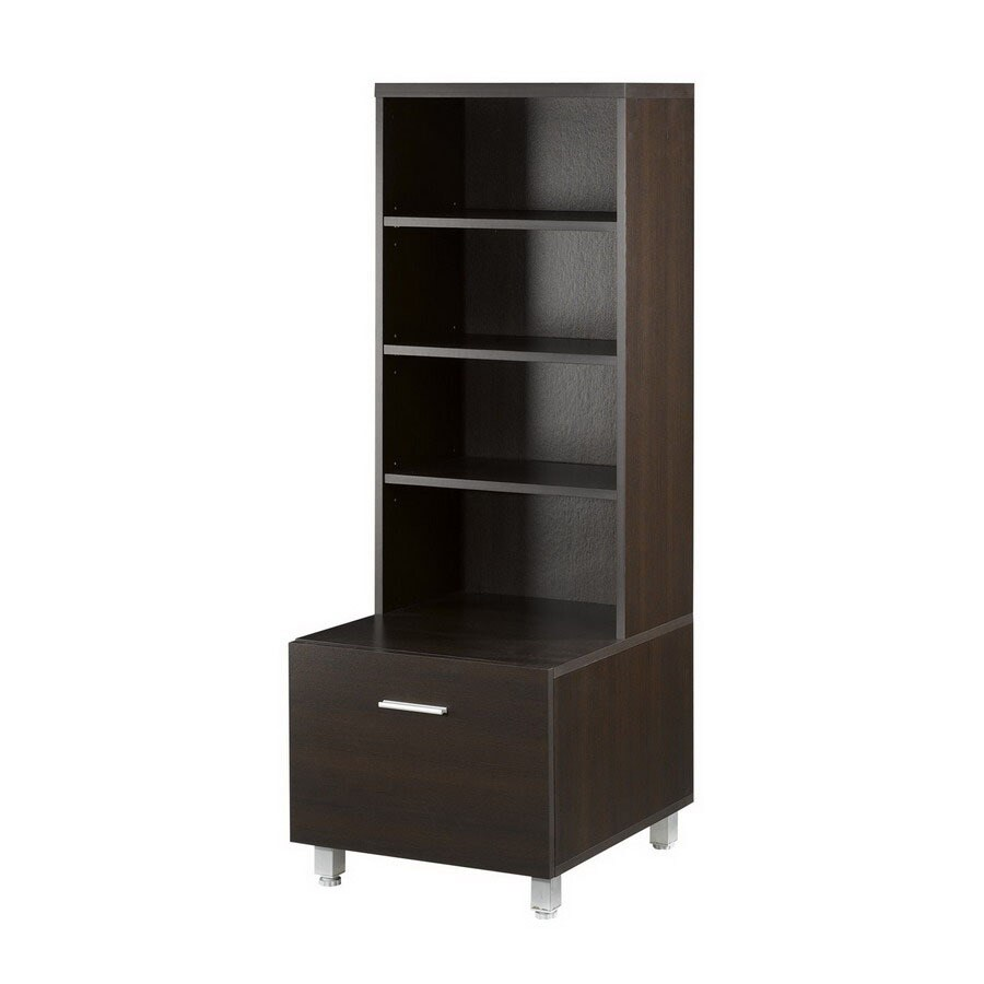 Nexera Element Espresso 19.875-in W x 52.5-in H x 19-in D 6-Shelf Bookcase