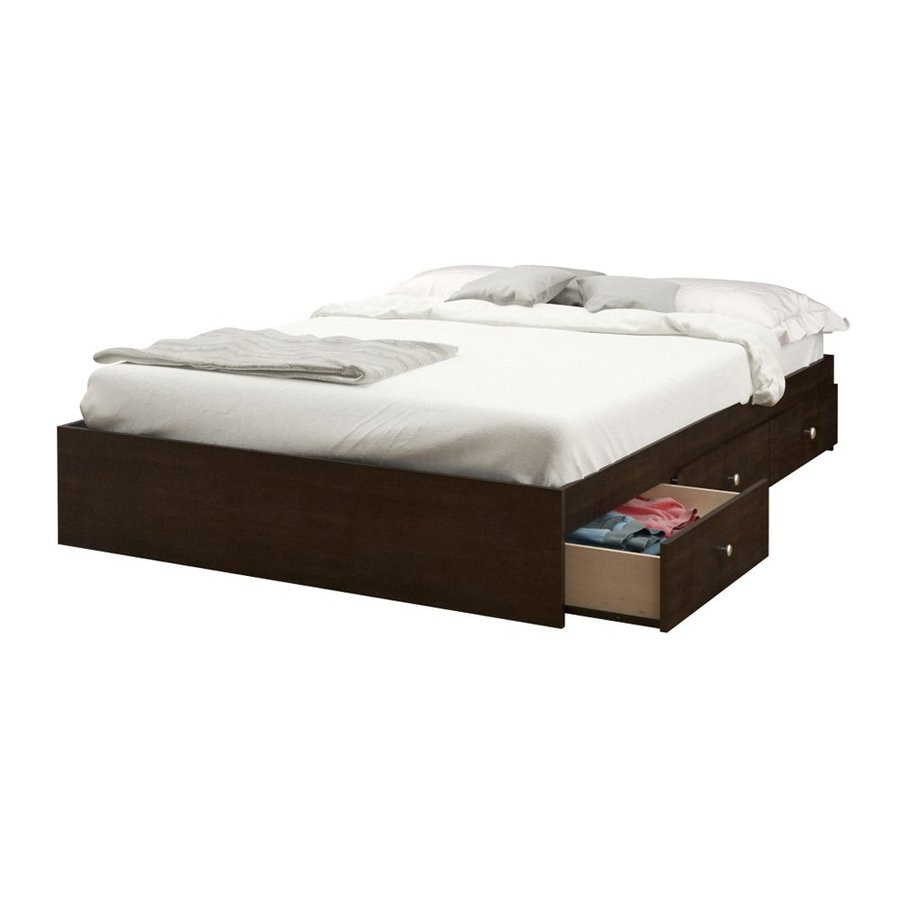 Shop nexera pocono espresso full platform bed with storage for Futon bunk beds with mattress included