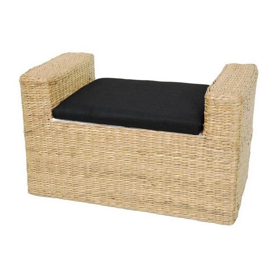 Oriental Furniture Fiber Weave Natural Indoor Entryway Bench with Storage