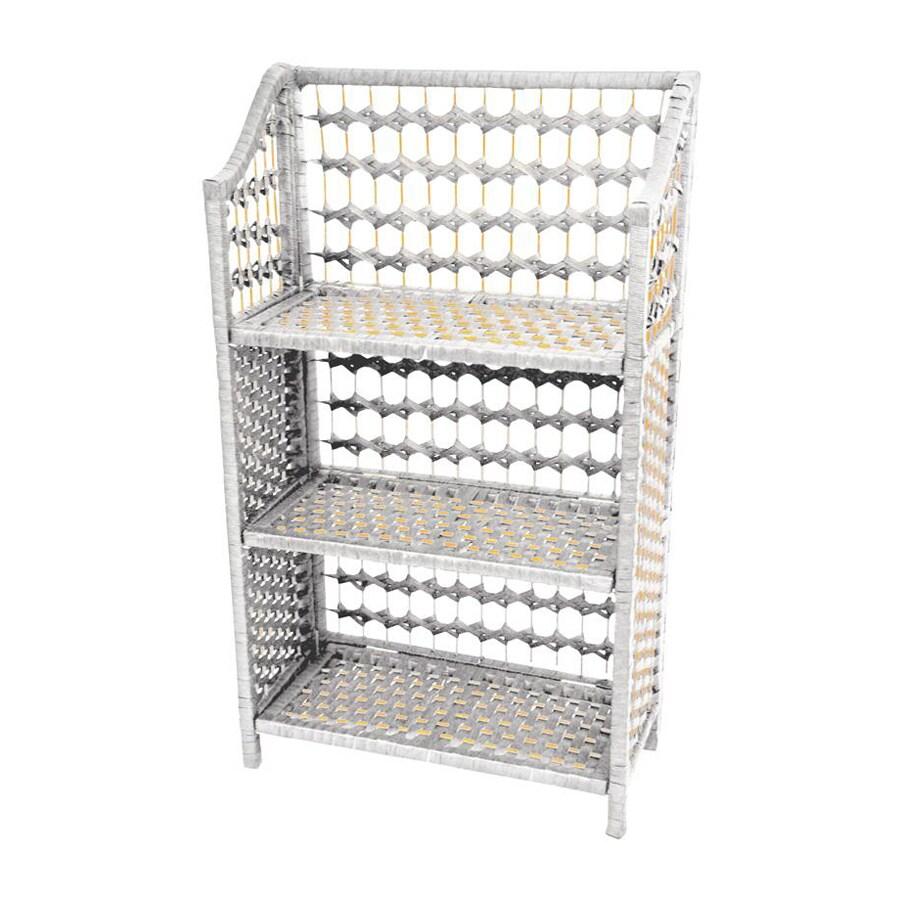 Oriental Furniture Natural Fiber White 19.75-in W x 33.5-in H x 10.25-in D 3-Shelf Bookcase