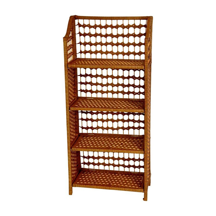 Oriental Furniture Natural Fiber Honey 20-in W x 43-in H x 10-in D 4-Shelf Bookcase
