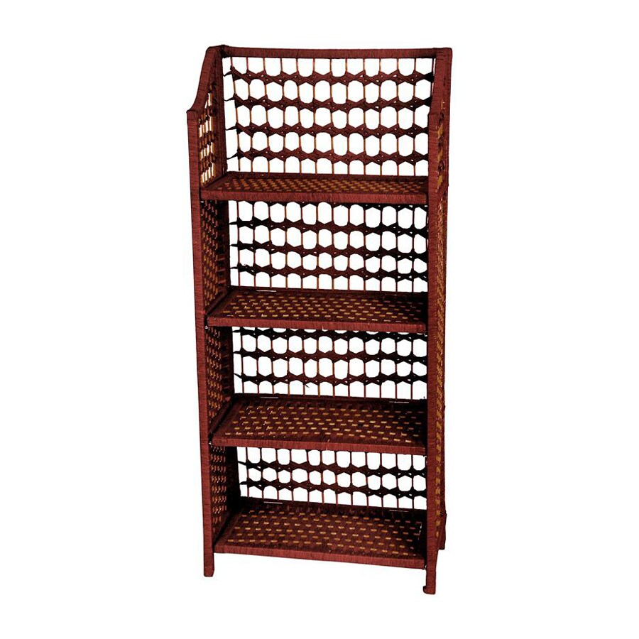 Oriental Furniture Natural Fiber Mahogany 20-in W x 43-in H x 10-in D 4-Shelf Bookcase