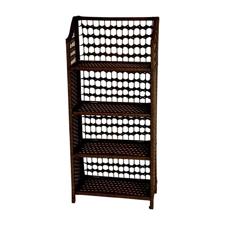 Oriental Furniture Natural Fiber Mocha 20-in W x 43-in H x 10-in D 4-Shelf Bookcase
